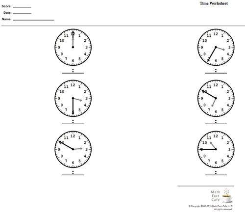 Tell Time Worksheet