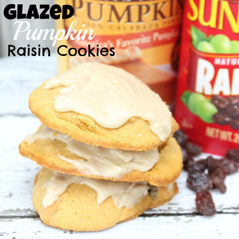 Glazed Pumpkin Raisin Cookies