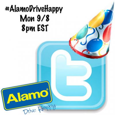 #AlamoDriveHappy Twitter Party 9/8 8pm EST Awesome Prizes!