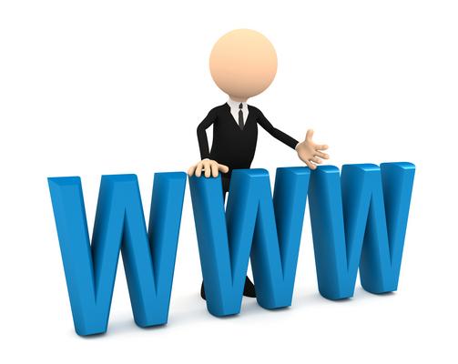 3d businessman with blue www letters