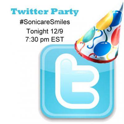 Twitter Party 12/9 @ 7:30pm EST #SonicareSmiles