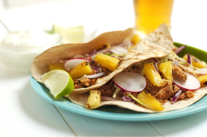 UntitledSweet & Spicy Pulled Pork Tacos with Grilled Pineapple Salsa