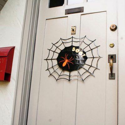 DIY Halloween Spider Web Door Sign